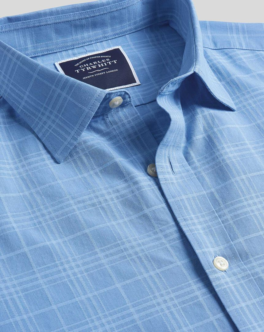 Classic Collar Short Sleeve Tone-on-tone Check Shirt - Sky