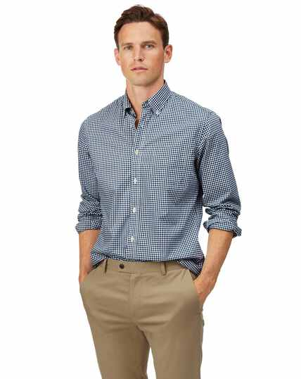 Slim fit soft washed non-iron stretch poplin gingham navy shirt