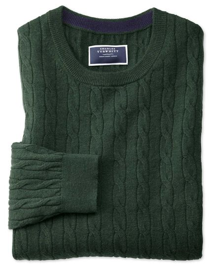 Green crew neck lambswool cable knit jumper