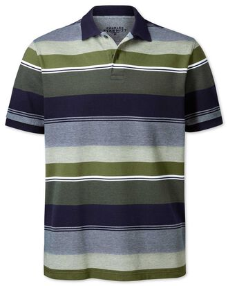 Olive multi stripe Oxford pique polo