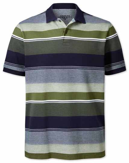 Olive multi stripe Oxford pique polo