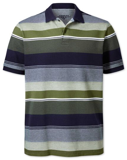 aa4bb9a26 Olive multi stripe Oxford pique polo | Charles Tyrwhitt