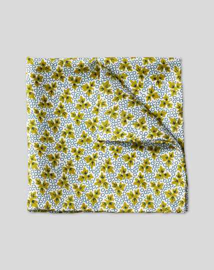 Leaf Print Pocket Square - Olive