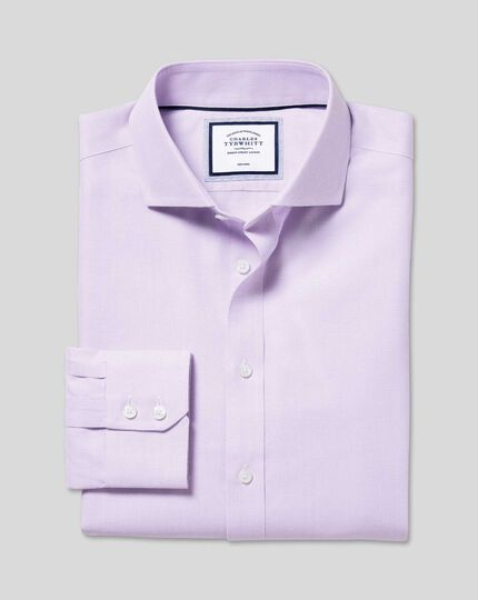 Spread Collar Non-Iron Ludgate Weave Shirt  - Lilac