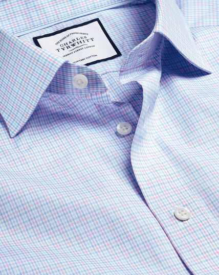 Semi-Cutaway Collar Egyptian Cotton Poplin Multi Check Shirt - Pink & Sky