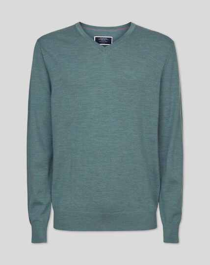 Merino V-neck Jumper - Blue