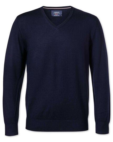 Navy merino wool v-neck sweater