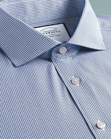 Extra slim fit non-iron cutaway Tyrwhitt Cool poplin check blue shirt