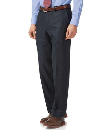 Pantalon de costume anthracite et bleu en flanelle à rayures coupe droite