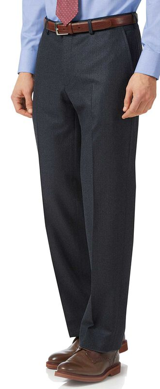 Charcoal and blue classic fit stripe flannel suit trousers
