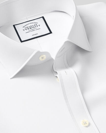 Classic fit white non-iron poplin spread collar shirt