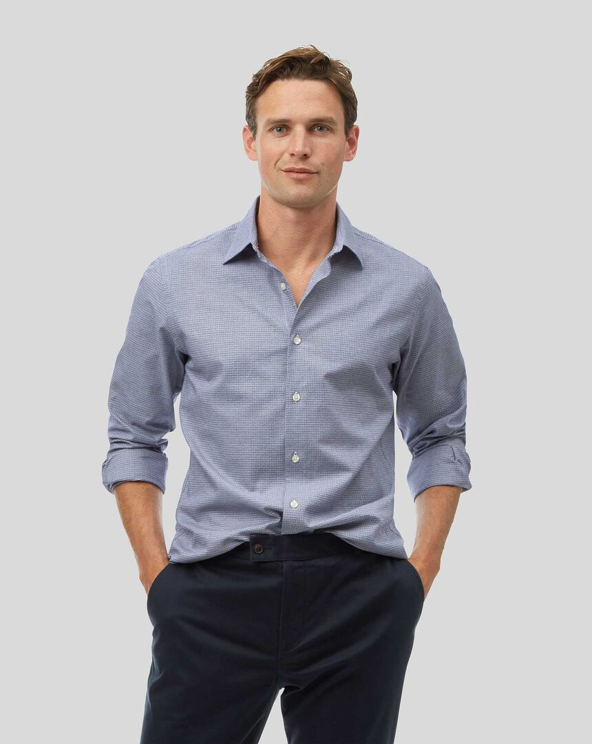 Classic Collar Grid Check Shirt - Blue