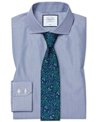 Slim fit spread collar non-iron Bengal stripe navy shirt