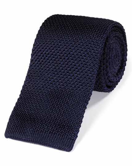 Cravate slim en maille de soie bleu marine