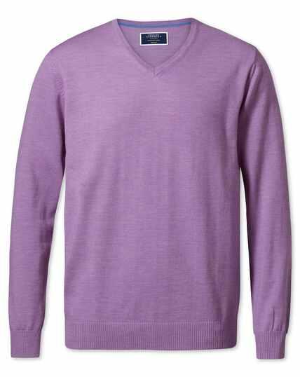Lilac merino wool v-neck jumper