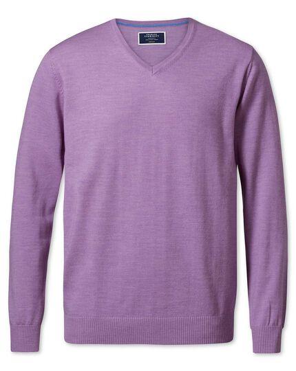 Lilac merino wool v-neck sweater