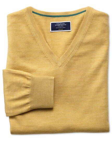 Pullover aus Merinowolle mit V-Ausschnitt in Gelb