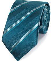 Klassische Krawatte Seide mit tonalen Streifen in Aquamarin