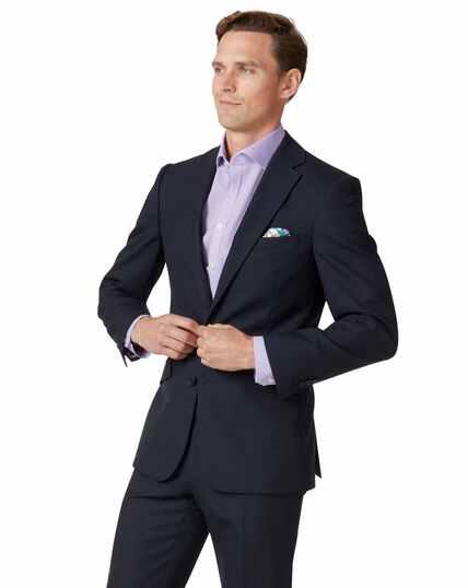 Veste de costume business bleu nuit en laine slim fit