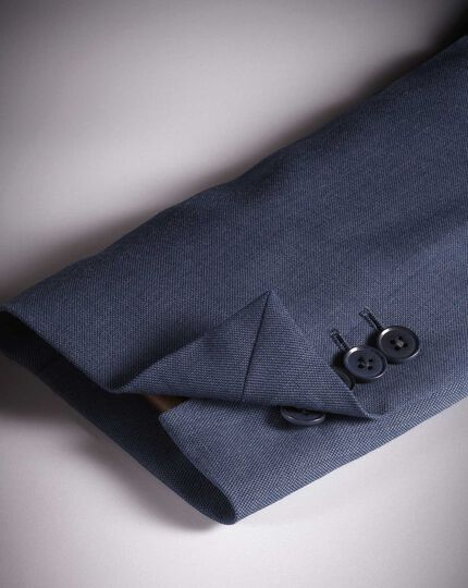 Slim Fit Travel-Sakko aus Sharkskin-Gewebe in Airforceblau