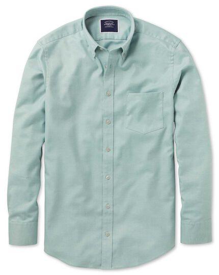 Vorgewaschenes bügelfreies einfarbiges Slim Fit Twillhemd in Hellgrün