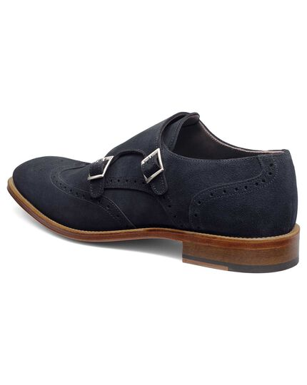 Navy suede double buckle monk shoe
