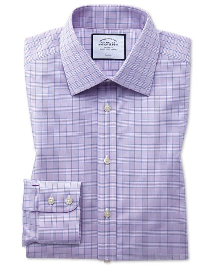 Non-Iron Prince Of Wales Check Shirt - Lilac And Blue