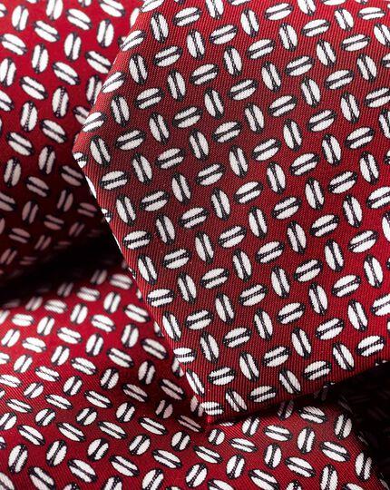 Krawatte mit England Rugby Ball-Print - Burgunderrot