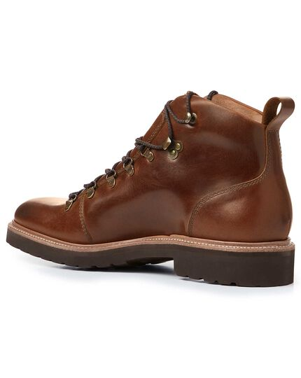 Brown Goodyear welted commando boots