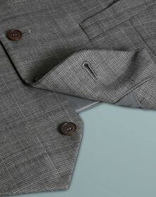 Light grey check slim fit twist business suit