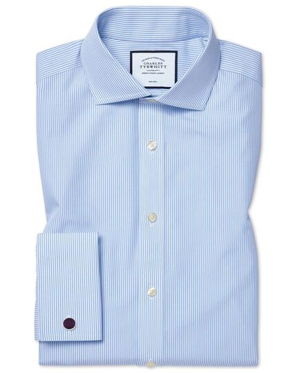 Extra slim fit non-iron cutaway sky blue Bengal stripe shirt