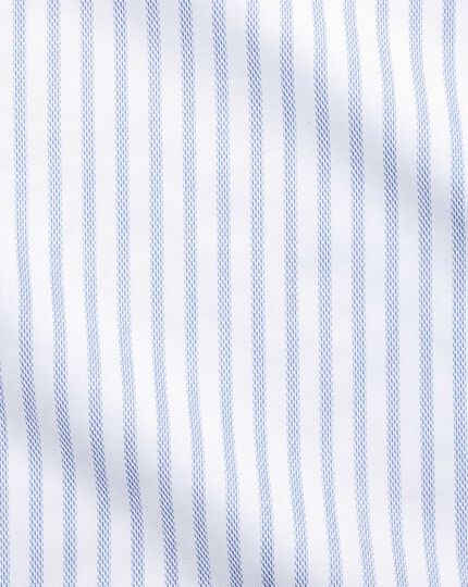 Slim fit cutaway textured stripe blue and white shirt