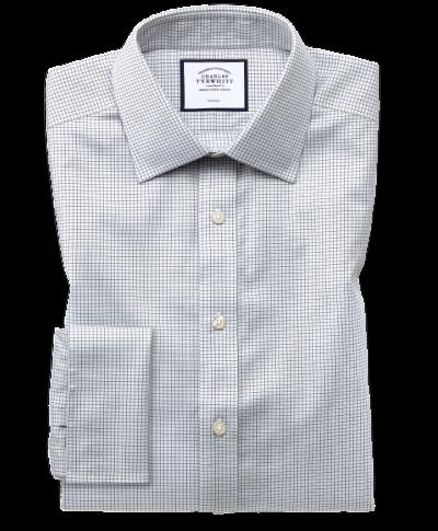 Classic fit non-iron twill mini grid check grey shirt
