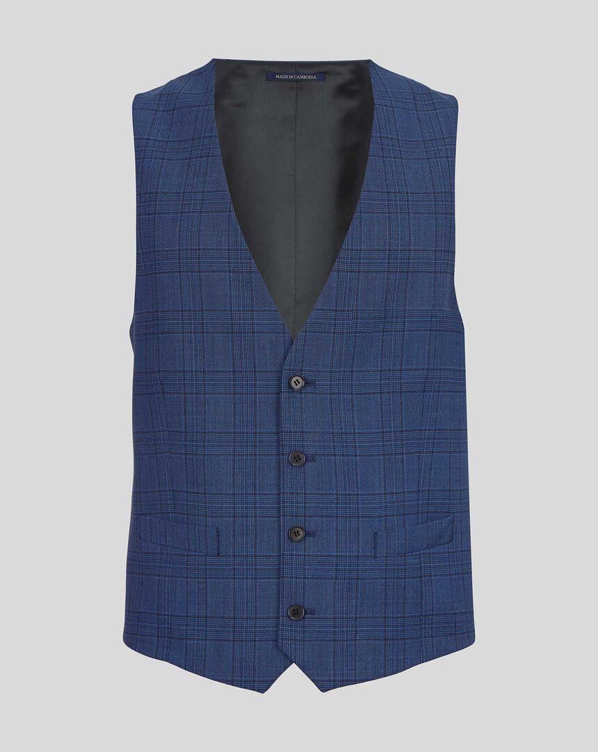 Merino Check Business Suit Waistcoat - Blue