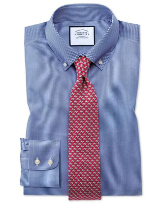 Slim fit button-down non-iron twill puppytooth royal blue shirt