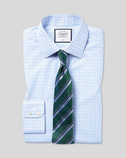 Bügelfreies Popeline-Hemd mit Kent Kragen und Karos - Himmelblau