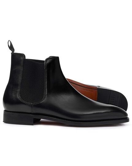 Black Goodyear welted Chelsea boots