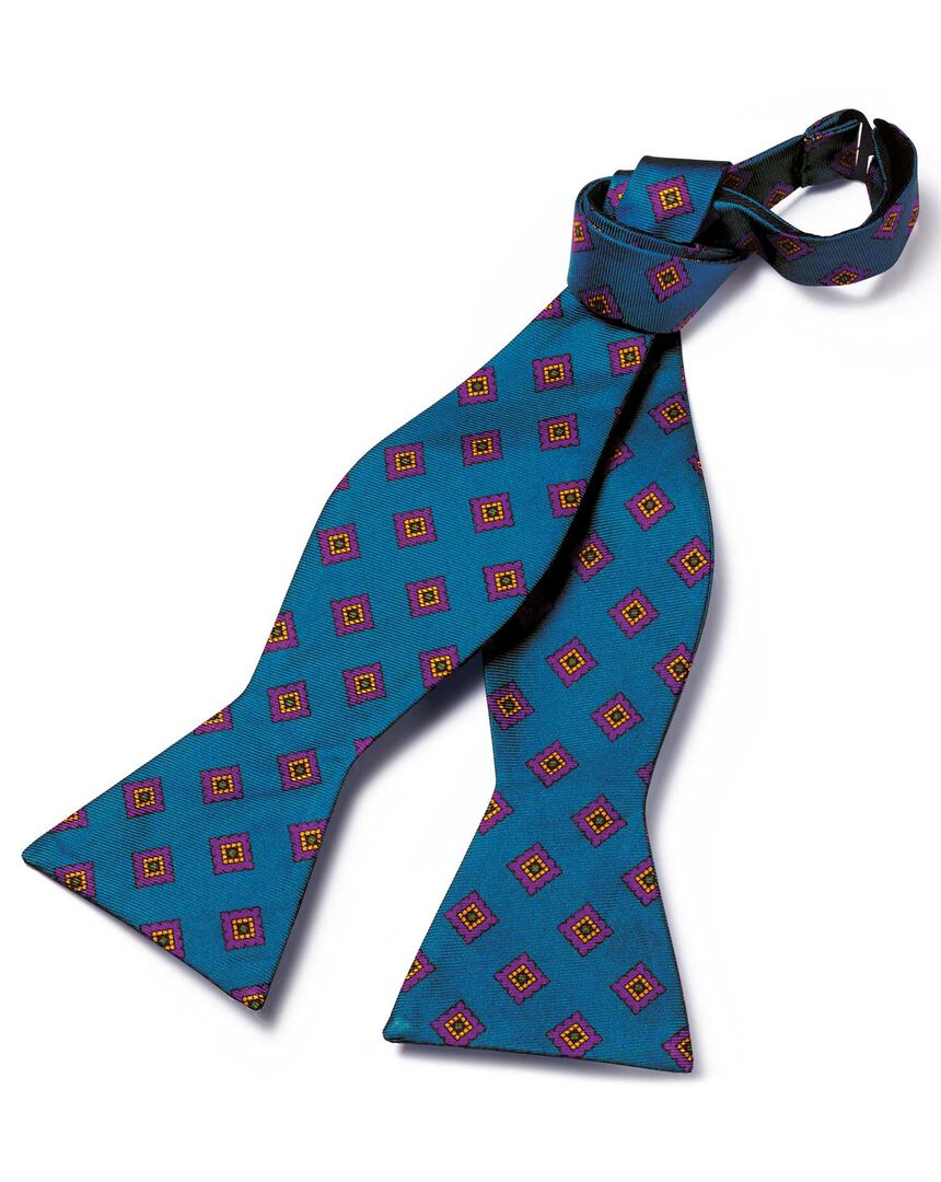 Teal medallion print silk self-tie bow tie