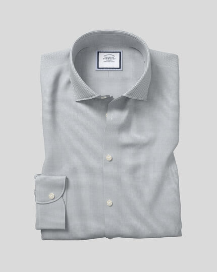 Business Casual Collar Softly Smart Check Shirt - Grey