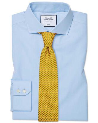 Slim fit spread collar non-iron twill sky blue shirt