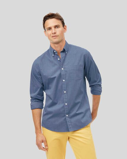 Button-Down Collar Soft Washed Stretch Poplin Shirt - Blue