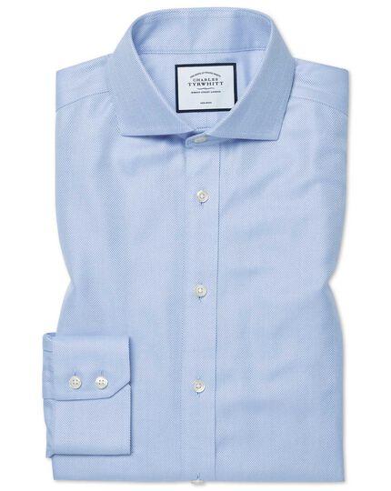 Extra slim fit non-iron sky blue herringbone shirt