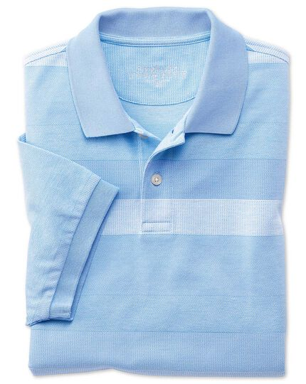 Sky blue and white textured stripe polo