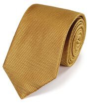 Cravate classique jaune uni en soie