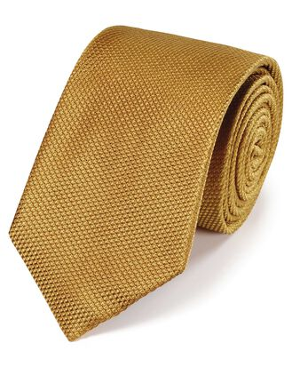 Yellow silk plain classic tie