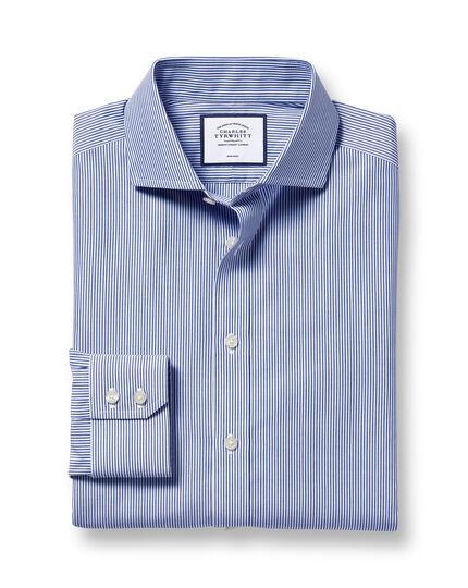 Spread Collar Non-Iron Bengal Stripe Shirt - Navy