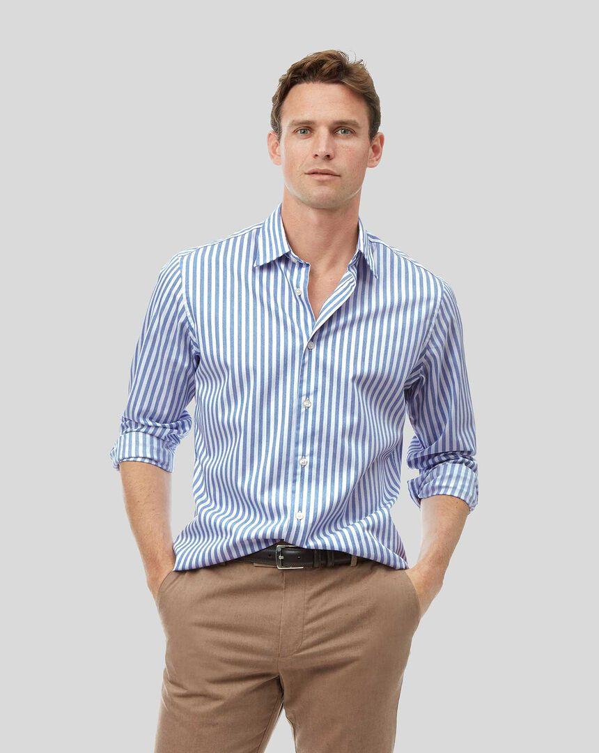 Chemise douce délavée à rayures et col classique - Bleu clair