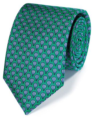 Green and navy hot air balloon print classic tie