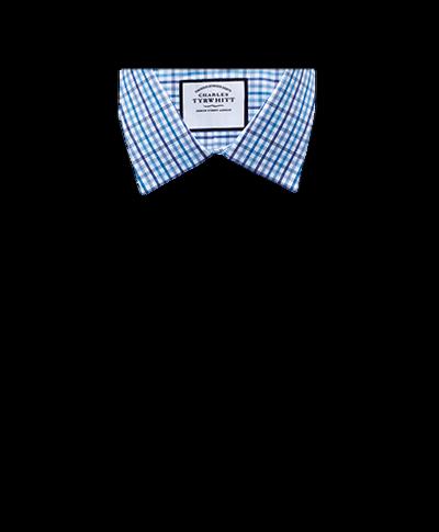 Chemise bleue en popeline slim fit à carreaux