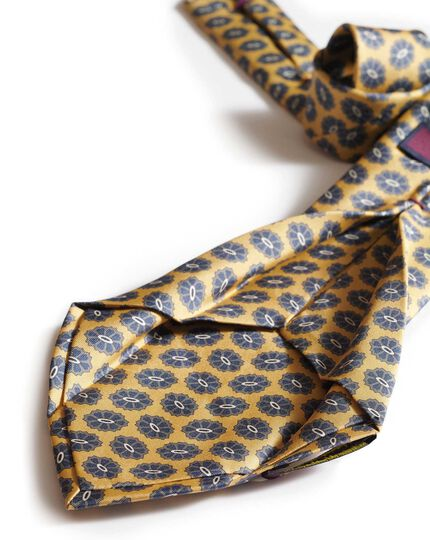 Gold silk medallion print English 7-fold luxury tie